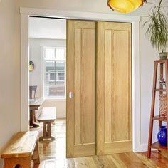 Deanta Twin Telescopic Pocket Norwich American Oak Veneer Doors - Unfinished.    #pocketdoors  #deantadoors  #telescopicdoors
