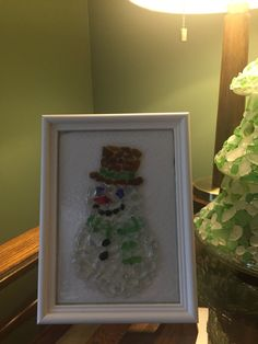 100% Authentic seaglass from the shores of Lake Erie 5x7 white frame Resin coated on top Rare colors