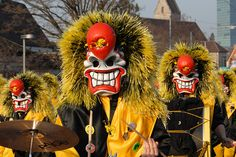 Always on Monday after Ash Wednesday, Basel celebrates its three day Fasnacht (carnival) which is unlike any other in the world. Basel, Festivals, Ash Wednesday, Mardi Gras, New Orleans, Lanterns, Color Schemes, Costumes, Halloween