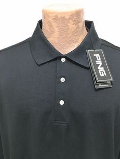 Ping Performance Black Golf Polo Short-Sleeve Shirt Mens XL NEW #Ping #PoloRugby