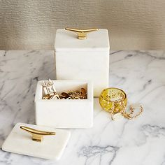 Buy west elm Marble Cleat Box, Large Online at johnlewis.com