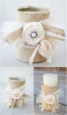 Burlap-Covered Tin Can Candle Holders—Perfect for a Wedding!
