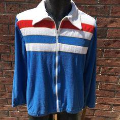 b02a2af0cdae Vintage 1970's Vtg 70-80's Gottex Men USA Red White Blue Stripe TERRY Cloth  Surfer Track Jacket Zip Up Shirt L Large