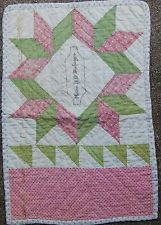 1800s DOLL QUILT SIGNED MISSES.D.D.SNOBERGER~TURKEY RED~OVERSHOT GREEN~DBL PINK, eBay, cedarchestquilts