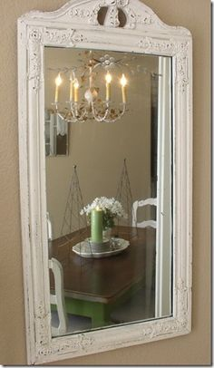 What a Lovely Mirror with chippy paint. Repurpose, recycle, upcycle, DIY, Vintage Decor!
