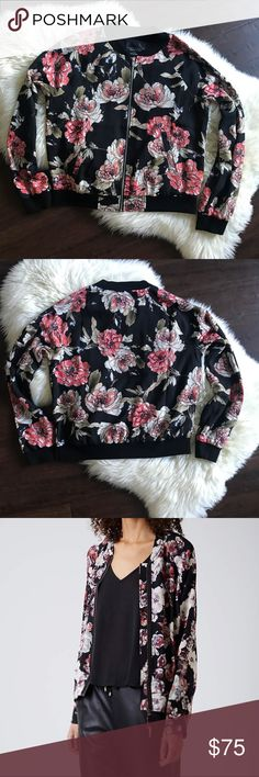 NWT Sanctuary Black Floral Bomber Roses Jacket M NWT Sanctuary Black Floral Bomber Jacket   New with tags. Perfect for fall!   Size - Medium   Approx Measurements: Bust - 42inches Length - 23 inches  **modeled pics are similar just a different print** Sanctuary Jackets & Coats