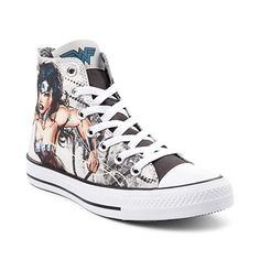 Showcase the beauty, brains, and brawn of the most iconic heroine of all time, with the new Chuck Taylor All Star Hi Wonder Woman Sneaker from Converse! Suit up Converse Logo, Converse Chuck Taylor All Star, Converse All Star, Sneakers Mode, Sneakers Fashion, High Top Sneakers, Wonder Woman, New Chuck Taylors, Baskets