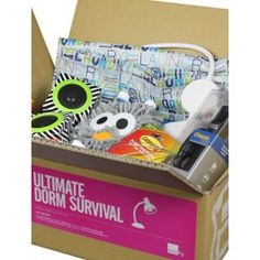 """Set for survival.We know college students are just going off to the dorms, and not some stranded island, but it's still good to show up prepared. The Dorm Survival Kit is perfect to either kick-off or to complete the typical college-shopping list. Filled with necessary yet unexpected items, dorm life may just be a little more rough without the Dorm Survival Kit. And yes, there's a Ping Pong ball in here. And no, we didn't include two rackets.As seen inU Chic's """"Prepping For College With…"""