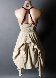 Steampunk Victorian Desert Safari Suspender Belt Strap Bustle Dress S M L XL