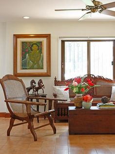 Serving as the house's original living room prior to its renovation, the large foyer is furnished Filipino Interior Design, Home Interior Design, Interior Ideas, Living Room Small, Living Room Decor, Living Area, Living Rooms, Style At Home, Tropical House Design