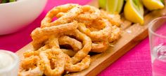 Crispy golden rings of squid, with a smooth and tasty dip