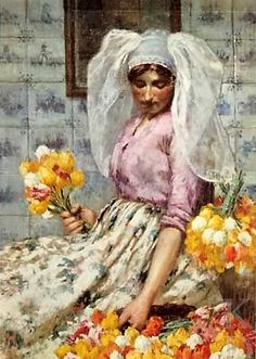 Flower Girl ~ George Hitchcock ~ (American 1850-1913)