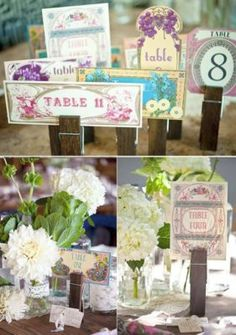 Place card holders & centerpieces for a dinner table. Jumbo clothes pin