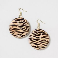 Zebra Print Wooden Drop Earrings