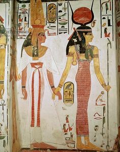 Isis and Nefertari, from the Tomb of Nefertari, New Kingdom (mural), Egyptian 19th Dynasty (c.1297-1185 BC) / Valley of the Queens, Thebes, Egypt / Giraudon / Bridgeman Images