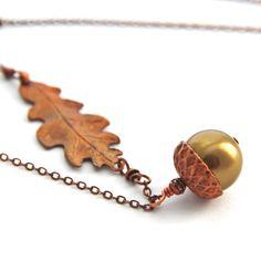 Acorn Leaf Necklace Necklace Copper Bronze Necklace Swarovski Antique Brass Pearl Necklace Olive Green Prarl Copper Leaf Autumn Jewelry