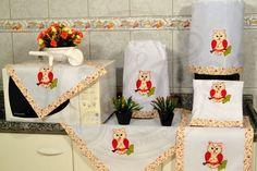 Jogo de cozinha bordado patchwork - coruja com barrado florido
