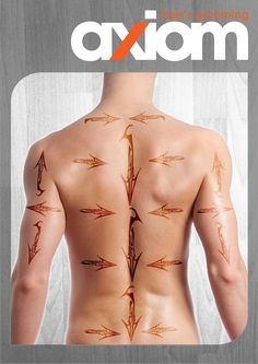Male waxing hair map - common directions of hair growth for the back and shoulders