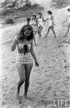 Beauty at the beach, 1940s.
