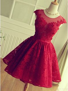 Knee-length Red Short Lace Prom Dress Homecoming Dress  #SIMIBridal #homecomingdresses