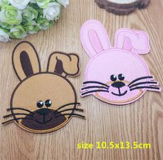 New arrival 10 pcs mixed brown and pink rabbit Embroidered patches iron on cartoon Motif RS Applique embroidery accessory