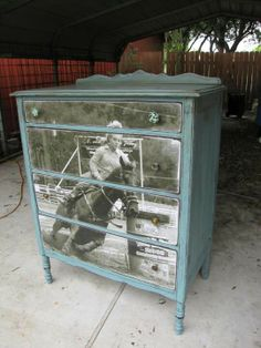 Decoupaged custom dresser by Copper Rooster(Facebook) .... awesome!