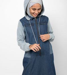 Soft Denim Hooded Jilbab | SilkRoute | My Online Souk | www.myonlinesouk.co.za Weather Seasons, Rainy Season, Blue Fabric, Fabric Material, Put On, Blue Denim, Hoods, Rain Jacket, Windbreaker