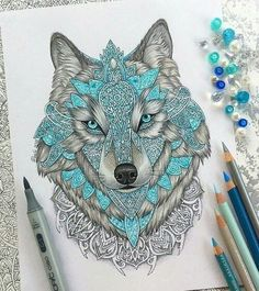 🔹🔷Wolf drawing done with prismacolors, copics and some stabilos!🔷🔹 Really like drawing mandalas, should I make more drawings like this? Mandala Art, Mandala Lobo, Mandala Tattoo, Bild Tattoos, Cool Drawings, Painting & Drawing, Colour Drawing, Cool Art, Awesome Art