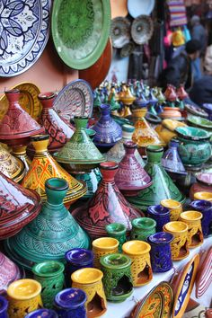 Pottery Market in Morocco Marrakech, Moroccan Decor, Moroccan Style, Style Marocain, Foto Art, Le Far West, World Of Color, Ceramic Pottery, Rainbow Colors