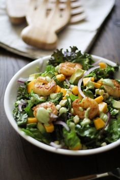 Curry Shrimp Chopped Salad with Creamy Avocado Dressing | http://www.theroastedroot.net