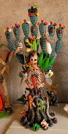 Skeleton Woman Nopal Mexico | by Teyacapan Mexico Art, Oaxaca Mexico, Viva Mexico, Day Of The Dead Art, Mexico Day Of The Dead, Muertos En Mexico, Mexican Ceramics, Mexican Crafts, Mexican Folk Art