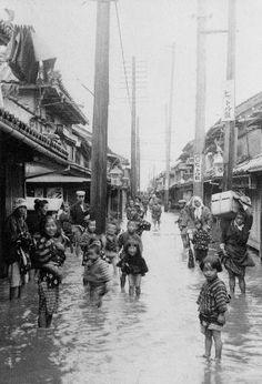 a flood near Sakaide  credit association in Sakaide city, Kagawa pref., September 1912