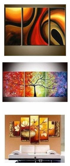 Extra large hand painted art paintings for home decoration. Large wall art, canvas painting for bedroom, dining room and living room, buy art online. Three Canvas Painting, Canvas Paintings For Sale, 3 Piece Canvas Art, Texture Painting On Canvas, 3 Piece Wall Art, Diy Canvas Art, Hand Painting Art, Large Painting, Abstract Art For Sale