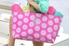 Monogram beach tote available at Note Worthy