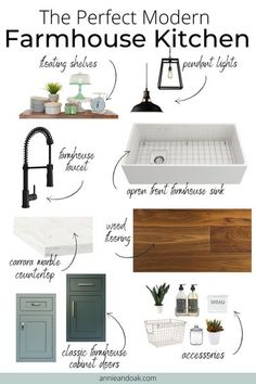 Learn How to Get That Perfect Modern Farmhouse Look for Your Kitchen. For these reasons, home-owners are keen to incorporate farmhouse decor into their own kitchen designs. When appropriately designed,the modern farmhousesuccessfully blends the warmth of rustic style with modern and industrial features for a whole new, functional effect. If you have a new house or you plan a kitchen remodel in the nearest future, this is definitely a style to consider. Learn more at www.annieandoak.c Industrial Farmhouse Kitchen, Modern Farmhouse Interiors, Modern Farmhouse Kitchens, Farmhouse Style Kitchen, Home Kitchens, Modern Farmhouse Style, Country Style Kitchens, Farmhouse Style Decorating, Kitchen Room Design