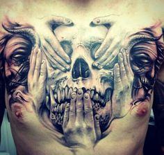 See no evil, hear no evil, speak no evil 3D skull chest piece. #InkedMagazine #Inked #tattoo #3D #skull #hands #chest #tattoos #ink #Inked