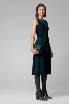 BOSS - Patchwork midi dress in crepe with plissé skirt detail Hugo Boss, Green Evening Dress, Robes Midi, Crepe Fabric, Event Dresses, Mi Long, Flare Skirt, Dress Outfits, Women Wear