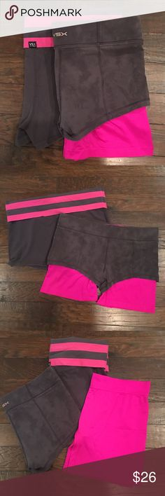 Victoria's Secret Workout Shorts M L Two pair of Victoria's Secret workout shorts. One pair has a second pink pair that you can wear under them. Or not! One is size M. One is size L. Price is for both pair. Victoria's Secret Shorts