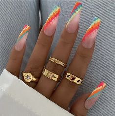 Dope Nail Designs, Ombre Nail Designs, Types Of Nail Polish, Types Of Nails, Funky Nail Art, Funky Nails, Aycrlic Nails, Dope Nails, Nail Ring