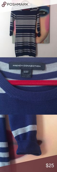 French Connection Striped Knit Dress Soft French Connection blue and gray striped knit dress. Light weight and perfect year round! Cuffed sleeves. Only worn a couple of times and in excellent condition French Connection Dresses