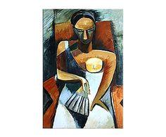 "Reprodukce obrazu ""Woman with a Fan"", 60 x 90 cm Picasso, Fan, Painting, Inspiration, Women, Biblical Inspiration, Women's, Painting Art, Paintings"