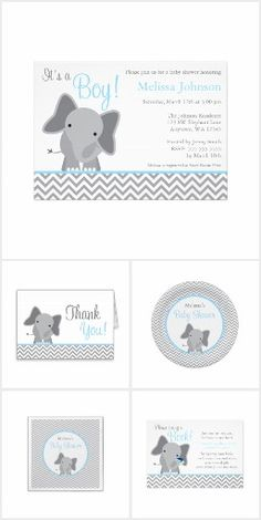 Cute Light Blue and Gray Elephant Chevron Baby Shower Invitation Set. So sweet for a little boy baby shower theme.