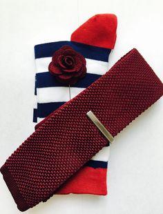 COMBO SET - Knit Tie, Tie bar, Lapel pin, Socks by ressoroth on Etsy