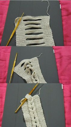 Trança embutida de crochê