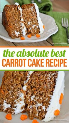 Easy Carrot Cake Recipe With Cream Cheese Frosting The absolute best carrot cake recipe. Moist, delicious, packed full of flavor. Best Carrot Recipe, Carrot Recipes, Cupcake Recipes, Baking Recipes, Dessert Recipes, Cupcakes, Cupcake Cakes, Just Desserts, Delicious Desserts