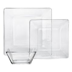 other than fiestaware I love plan dishes, clear are a special awesomeness Libbey Tempo Square Glass Dinnerware Set of 12