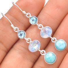 Larimar - Dominican Republic 925 Silver Earrings Jewelry SE139421 | eBay