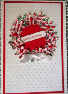 Christmas card - wreath made with a daisy punch.