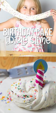 Edible Birthday Cake slime - a fun edible slime recipe made with ingredients you already have in your kitchen! Tastes just like vanilla birthday cake slimevideo slimerecipe edibleslime craftvideo SSG sensoryplay 230598443406470942 Edible Crafts, Fun Diy Crafts, Fun Crafts For Kids, Craft Activities For Kids, Diy For Kids, Fall Crafts, Easter Crafts, Halloween Crafts, Slime Craft