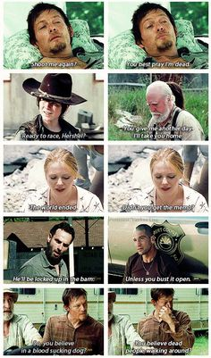 Shared by ️Jasmin️. Find images and videos about happy, tv show and the walking dead on We Heart It - the app to get lost in what you love. Walking Dead Quotes, Walking Dead Tv Series, Walking Dead Funny, Walking Dead Zombies, Fear The Walking Dead, Walking Dead Cast, Norman Reedus, Daryl Dies, Twd Memes
